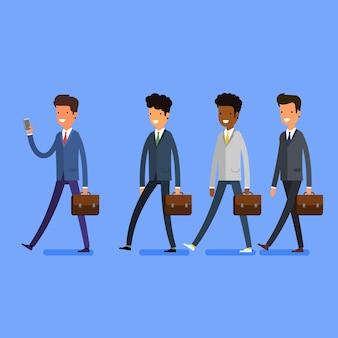 Бизнес-концепция. люди следуют за лидером по телефону. плоский дизайн, векторные иллюстрации.
