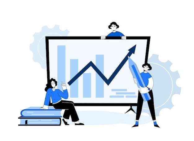 Бизнес-концепция. люди возле графики с карандашами. женщина с книгами. девушка с ручкой. деловая команда