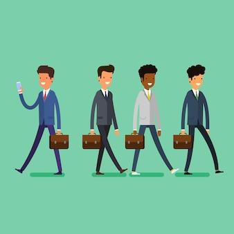 Бизнес-концепция. люди отписываются от лидера по телефону. плоский дизайн, векторные иллюстрации.