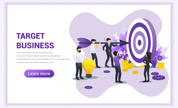 Business concept. people working together holding a big dart aimed at the dartboard for reach the target. flat vector illustration