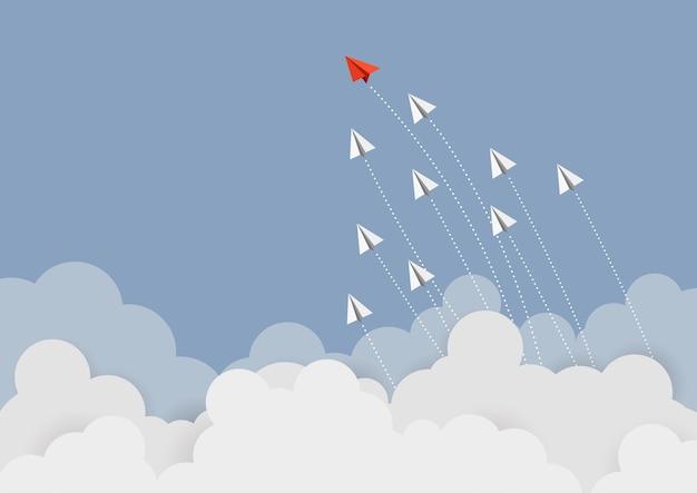 Бизнес-концепция. красный лидер бумаги