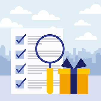 Business concept report paper check mark gift and magnifying glass