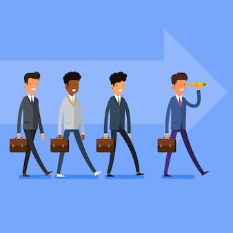 ビジネスコンセプト。機会を探しています。人々はリーダーに従います。フラットなデザイン、ベクトルイラスト。