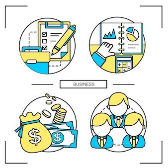 Бизнес-концепция в стиле плоской линии