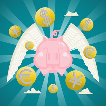 사업 개념, 동전 통화 날개를 가진 돼지 저금통을 웃 고.