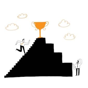비즈니스 개념입니다. 성공. 경쟁, 사업가가 꼭대기에서 기다리고 있는 트로피를 향해 계단을 올라갑니다. 벡터 일러스트 레이 션 손 그리기 낙서 스타일