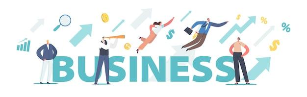 ビジネスコンセプト。成功したリーダーシップ、経済的な成功、キャリアの成長。小さなキャラクターと成長する矢印チャート、スパイグラスのポスター、バナーまたはチラシを持つ男。漫画の人々のベクトル図