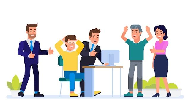 비즈니스 개념. 성공적인 팀 모임. 젊은 사람들의 그룹, 완료된 작업, 직업 또는 공통 프로젝트, 창업 벤처를 축하하는 신생 기업. 삽화