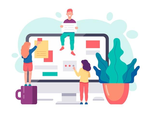 ビジネスコンセプト。チームのブレインストーミング、人々のコミュニケーション、相互作用、ビジネスプロセス、アジャイルプロジェクト管理の概念。
