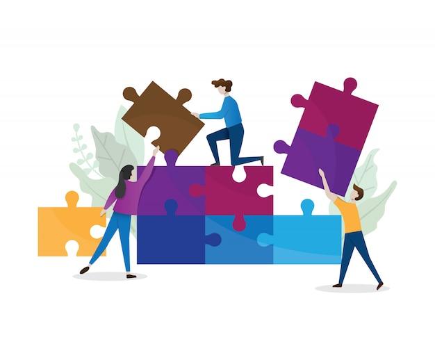 ビジネスコンセプトです。チームのメタファー。パズル要素を接続する人々。イラストフラットなデザインスタイル。チームワーク、協力、パートナーシップの象徴。白い背景で隔離のフラットスタイルデザイン