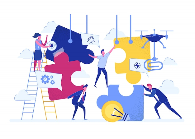 Business concept. team metaphor. people connecting puzzle elements. vector illustration flat design style. teamwork, cooperation, partnership.