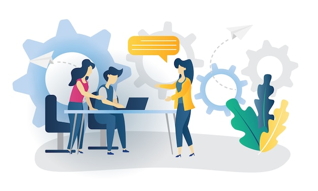 Business concept team work flat illustration