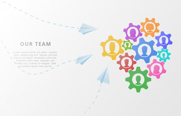 Business concept of teamwork on abstract background with gears