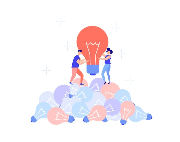 Business concept  teamwork brainstorming finding new ideas for solutionspeople find a crazy idea