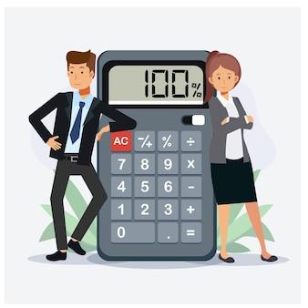 사람들의 작업 금융 비즈니스 계산기의 비즈니스 개념 팀웍입니다. 평면 벡터 만화 캐릭터 그림입니다.
