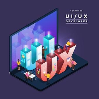 Бизнес-концепция совместной работы людей, работающих над ui / ux-разработкой