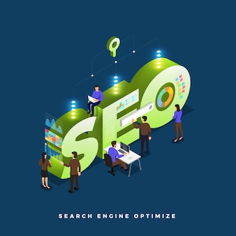 Business concept teamwork of peoples working development isometric seo