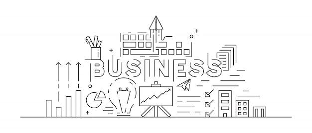 Business concept theme line art design