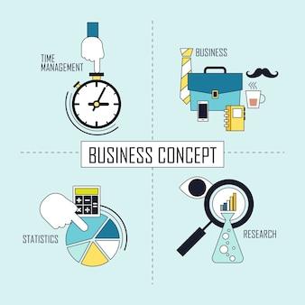 비즈니스 개념: 선 스타일의 시간 관리-비즈니스-통계-연구