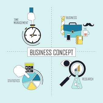 Business concept: time management-business-statistics-research in line style