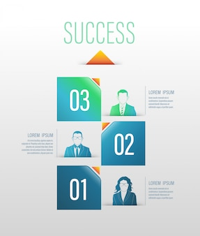 Business concept up to success number options with icons