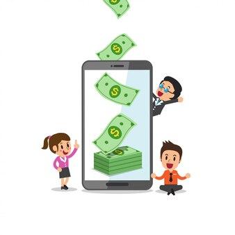 ビジネスコンセプトベクトル漫画電話ヘルプビジネスチームがお金を稼ぐ