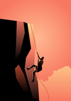 Business concept vector illustration of business woman climbing to the top