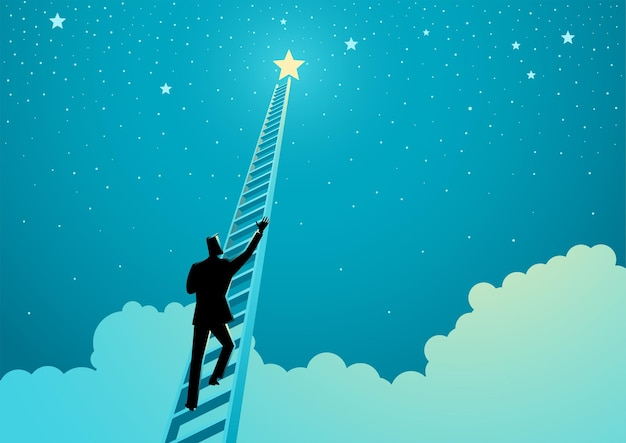 Business concept vector illustration of a businessman climbing a ladder to reach out for the stars