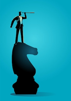 Business concept vector illustration of businessman with telescope standing on chess knight, strategy, vision concept