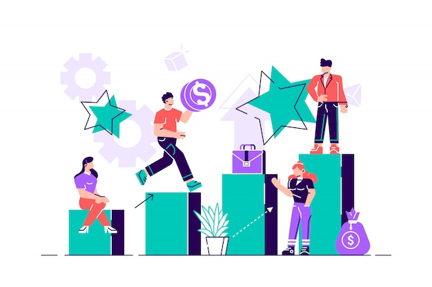 Business concept vector illustration, little people climb the corporate ladder, the concept of career growth, career planning.