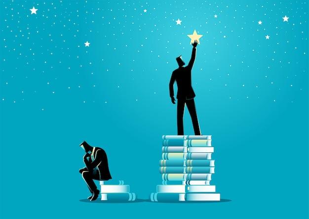 두 사업가의 비즈니스 개념 벡터 일러스트 레이 션, 하나는 플랫폼으로 책을 사용하여 별을 향해 손을 내밀고 다른 하나는 아무것도하지 않고 앉아