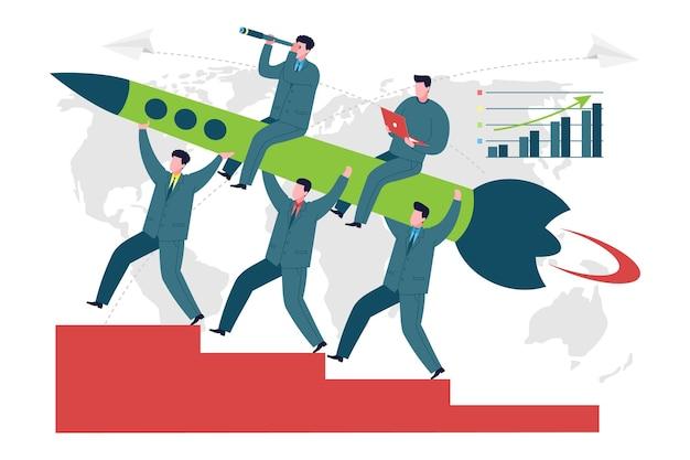 비즈니스 개념입니다. 새로운 사업을 시작하기 위한 은유로 로켓을 발사하는 동료 또는 회사 직원 팀의 벡터 이미지. 흰색 배경에 비즈니스 사람들이 그림