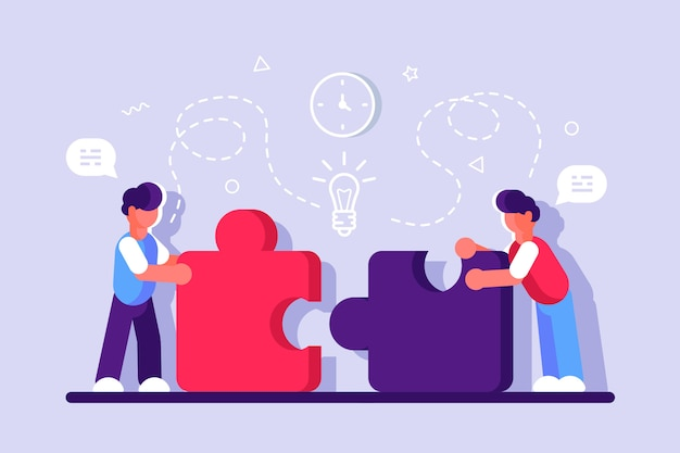 Business concept for web page. team metaphor. people connecting puzzle elements. vector illustration flat isometric design style. symbol of teamwork, cooperation, partnership. startup employees.