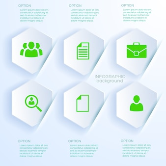 Business concept in white paper style with six infographic hexagonal shapes
