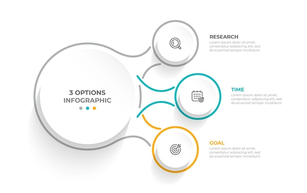 Бизнес-концепция с 3 вариантами шагов или частей