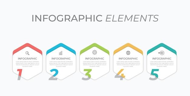 5つのオプション、ステップまたはプロセスのビジネスコンセプト。