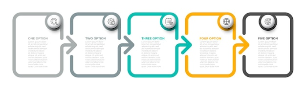 Business concept with 5 options or steps.