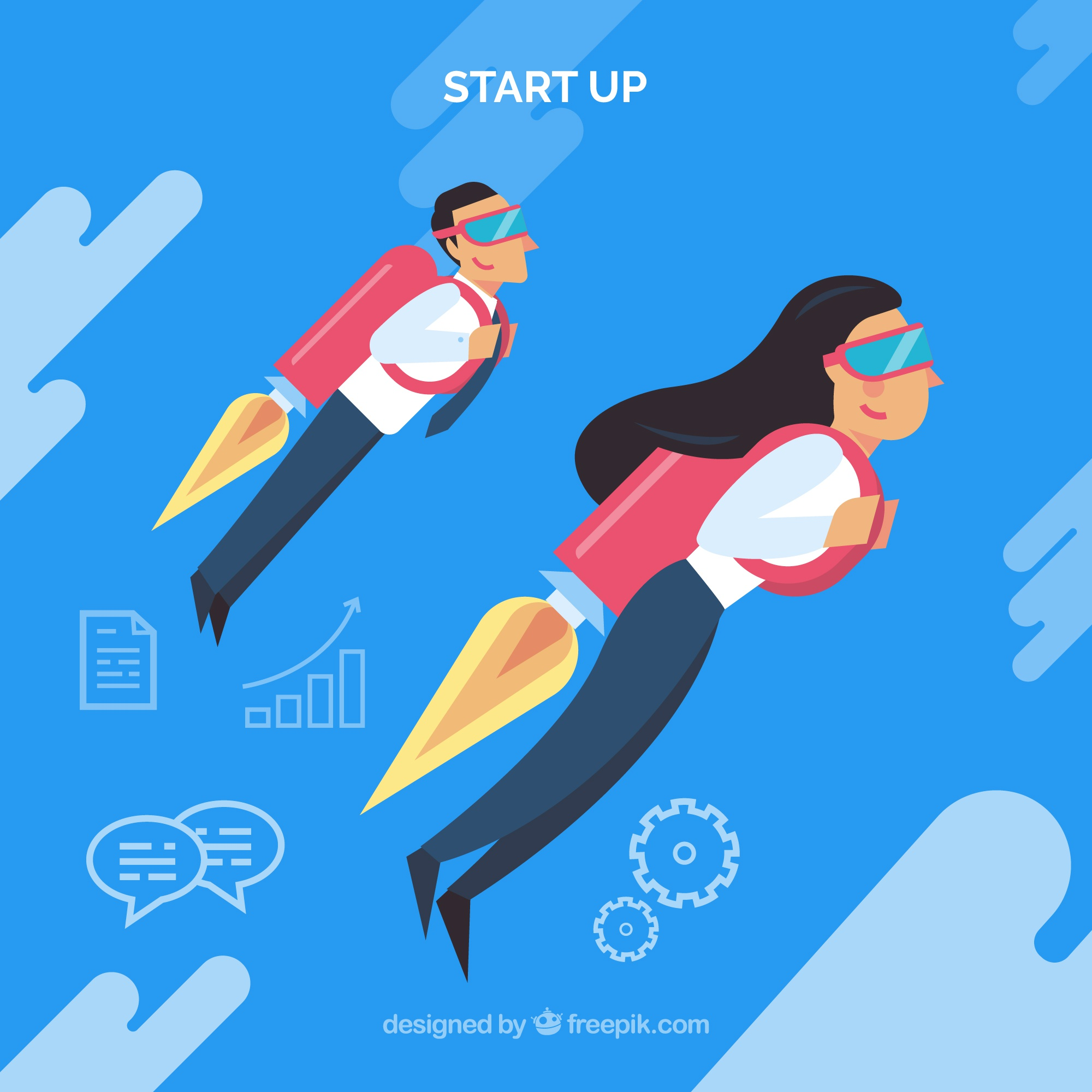 Business concept with business people using jetpack