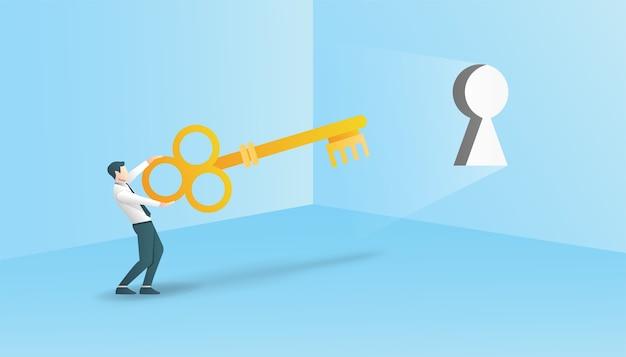Бизнес-концепция с бизнесменом, держащим ключ, чтобы разблокировать символ.