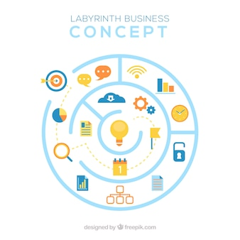 Business concept with circular labyrinth