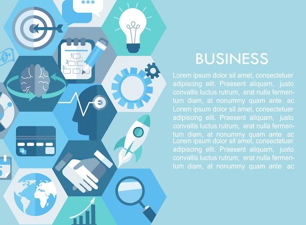 Бизнес-концепция с плоскими иконками.