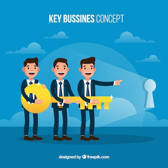 Business concept with flat key