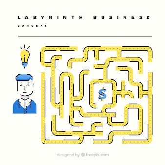 Business concept with flat labyrinth
