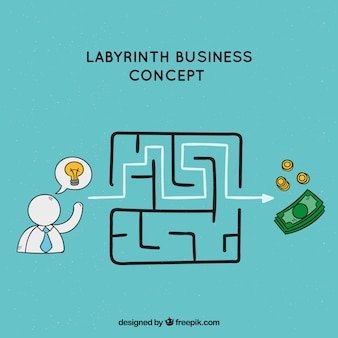 Business concept with hand drawn labyrinth