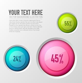 Concetto di affari con opzioni infografiche con valori percentuali inscritti in icone rotonde colorate