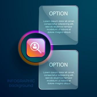 Concetto di affari con pittogramma sociale lente zoom infografica e due caselle di testo modificabili