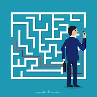Business concept with labyrinth and businessman
