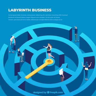 Business concept with labyrinth's isometric view