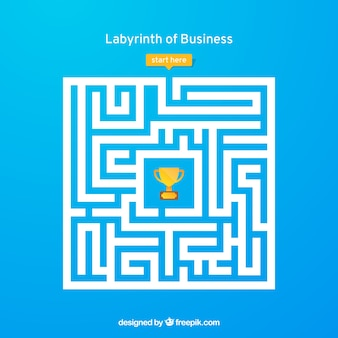 Business concept with labyrinth and worker