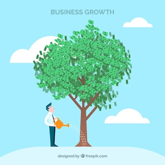 Business concept with man watering tree
